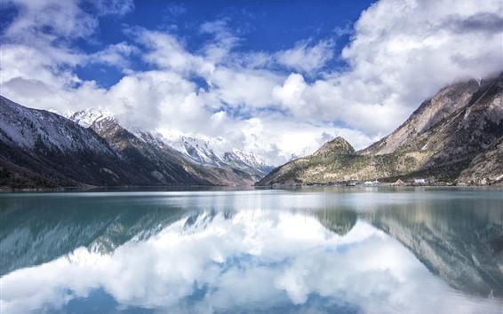 Wallpaper Tibet, Ranwu Lake, mountains, snow, clouds, China