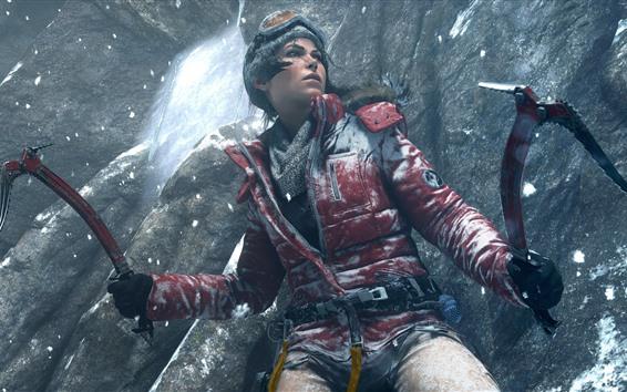 Обои Tomb Raider, Лара Крофт, очки, куртка, снег