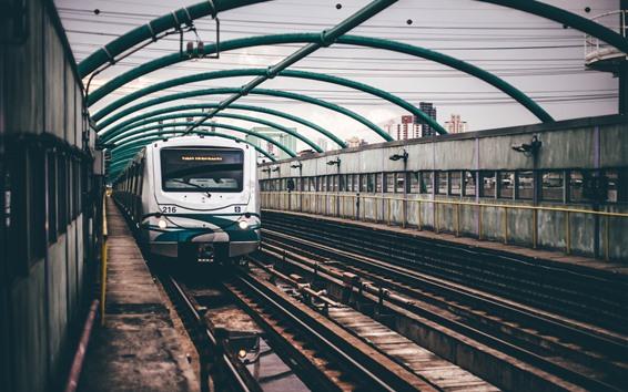 Wallpaper Tram front view, railway
