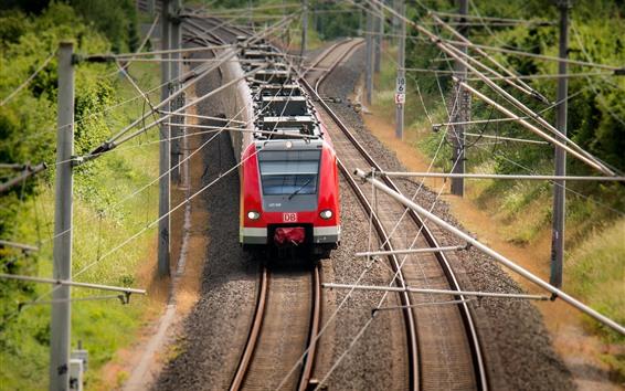Wallpaper Tram, train, railway, power lines