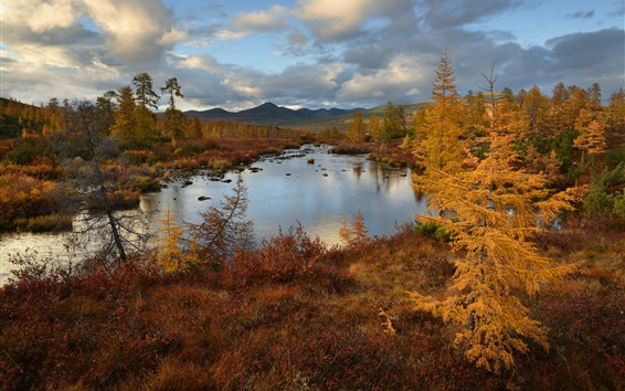 Wallpaper Trees, mountains, lake, clouds, autumn, dusk