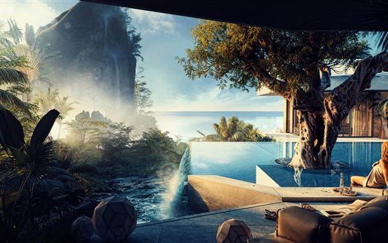 Wallpaper Tropical, sea, swim pool, tree, girl