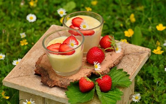 Fond d'écran Deux tasses de yaourt, fraise