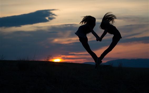Wallpaper Two girls jump, love heart shaped, silhouette