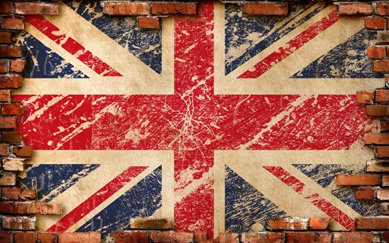 Wallpaper UK flag, bricks wall