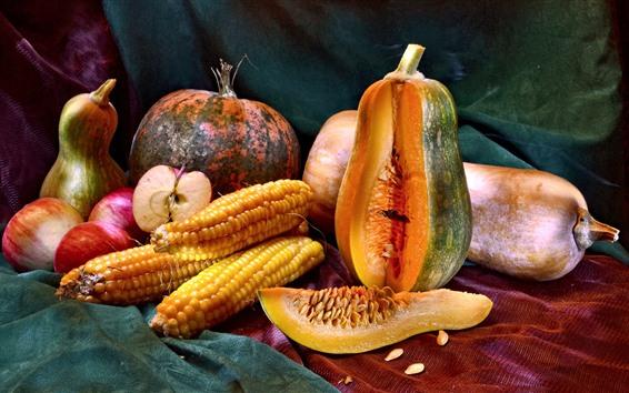 Papéis de Parede Vegetal, abóbora, milho, cebola