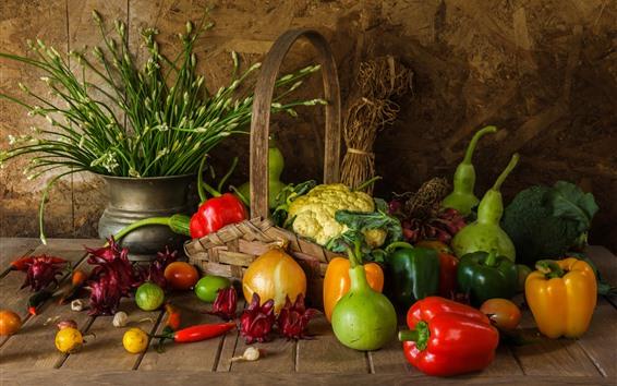 Fond d'écran Légumes, oignons, poivrons, chou-fleur