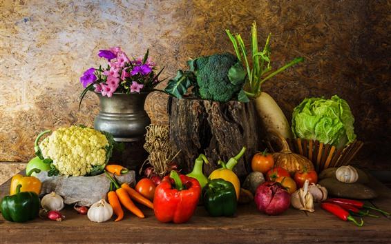 Fondos de pantalla Verduras, calabaza, pimientos, coliflor, cebolla, flores.