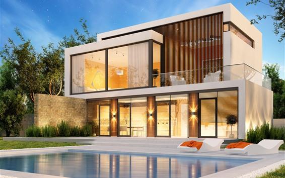 Fond d'écran Villa, piscine, conception 3D