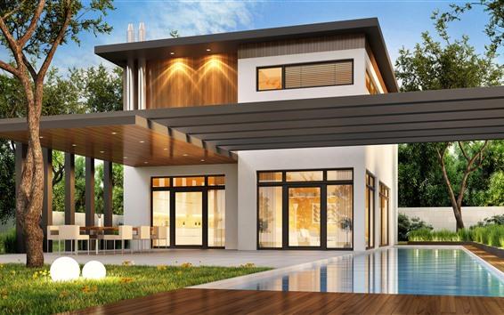 Fond d'écran Villa, piscine, arbres, lumières, design créatif