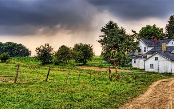 Wallpaper Village, house, grass, fence, trees, dusk