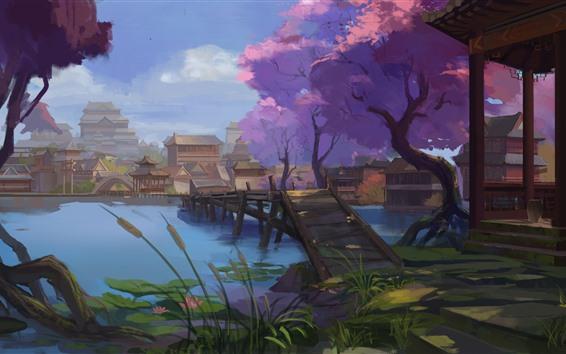 Papéis de Parede Pintura em aquarela, China, aldeia, estilo retro