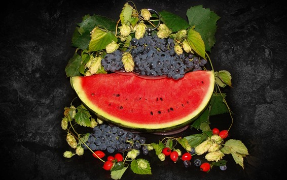 Wallpaper Watermelon and grapes, fruit