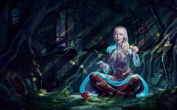 Papéis de Parede Garota de fantasia de cabelo branco, beber chá
