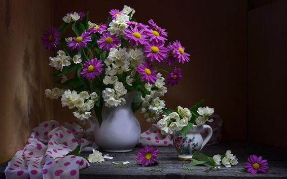 Wallpaper White jasmine, pink chamomile, vase, table