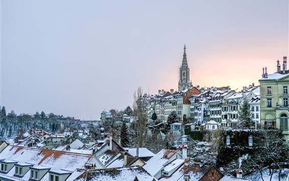 Papéis de Parede Inverno, cidade, casas, telhado, neve