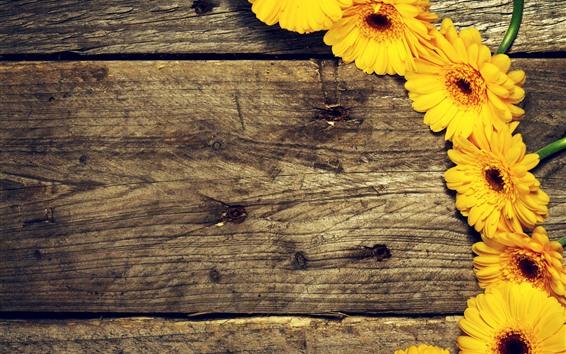 Wallpaper Yellow gerbera, wood board