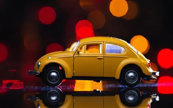 Papéis de Parede Carro de brinquedo amarelo, círculos de luz, brilho