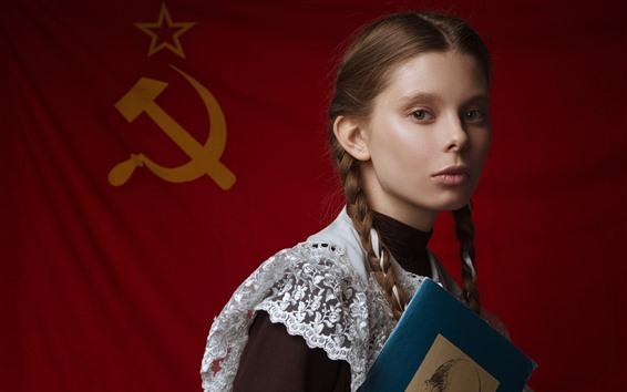 Wallpaper Young schoolgirl, braids