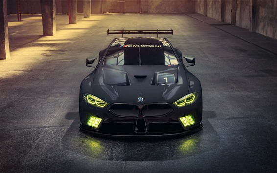 Wallpaper 2018 BMW M8 GTE black racing car, headlight
