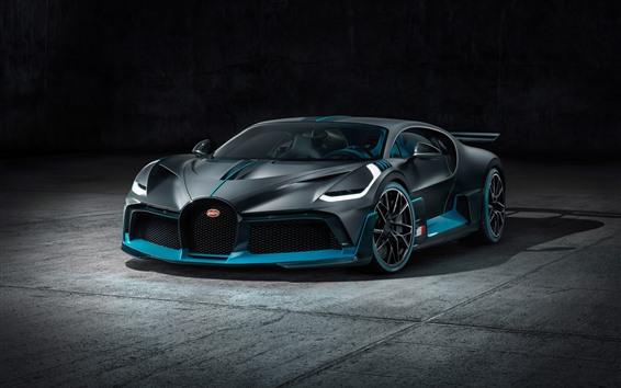 Papéis de Parede 2019 Vista frontal do supercarro preto Bugatti Divo
