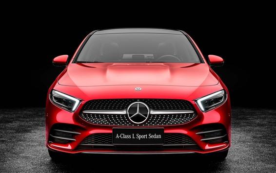 Fondos de pantalla Vista delantera del automóvil rojo Mercedes-Benz A-Class A200 2019