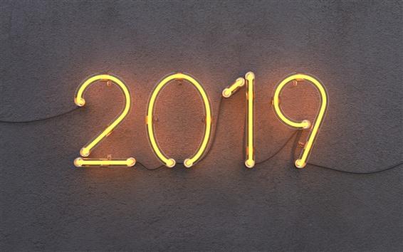 Fond d'écran 2019 Nouvel An, néon, mur