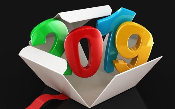Fondos de pantalla 3D Feliz Año Nuevo 2019, colorido, caja