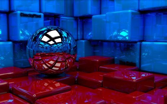 Обои 3D дизайн, синие и красные кубики, шар
