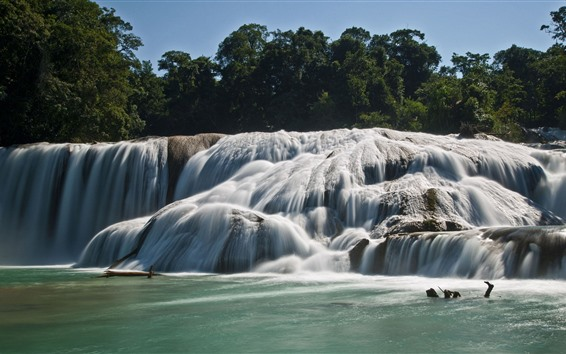 Fond d'écran Agua Azul, cascades, Mexique