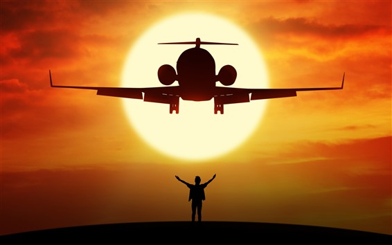 Wallpaper Airplane and man, silhouette, sunset, sun
