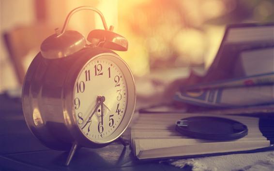 Wallpaper Alarm clock, warm light, paper fan