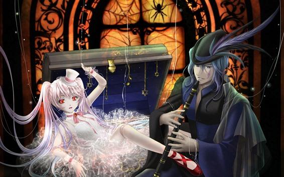 Fond d'écran Anime fille et garçon, flûte