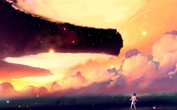 Fond d'écran Anime girl, herbe, nuages, étoilé