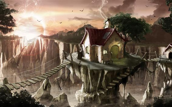 Wallpaper Art painting, houses, valley, bridge, birds, sunset