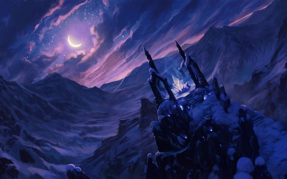 Wallpaper Art picture, fantasy, crystal, snow, night, moon, clouds