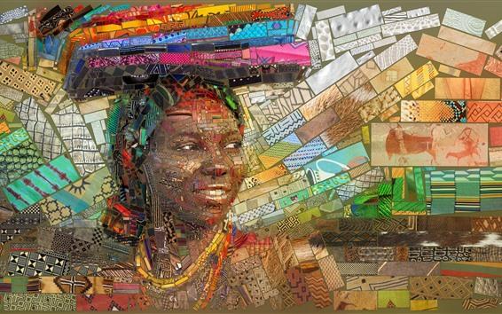 Fondos de pantalla Cuadro del arte, mosaico, África, muchacha, libro