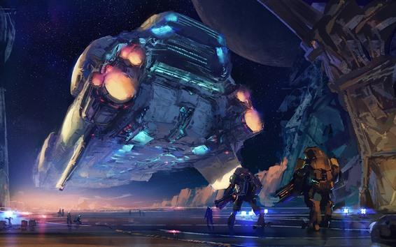 Wallpaper Art picture, spaceship, robots, sci fiction