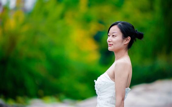 Fondos de pantalla Chica asiática, novia, vista lateral, fondo verde