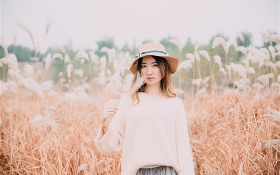 Wallpaper Asian girl, hat, reeds, autumn