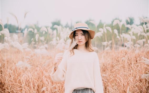 Fondos de pantalla Chica asiática, sombrero, cañas, otoño