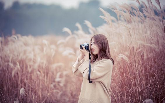 Wallpaper Asian girl use camera, reeds