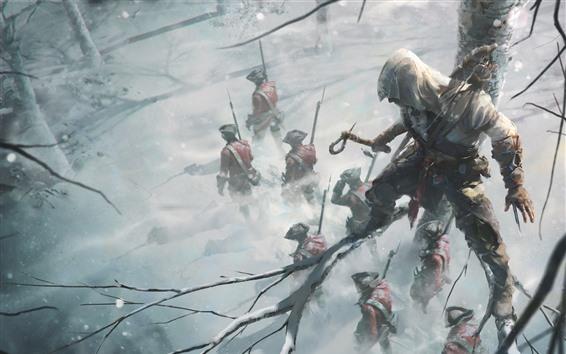 Papéis de Parede Assassin's Creed, Ubisoft, soldados, árvore, inverno