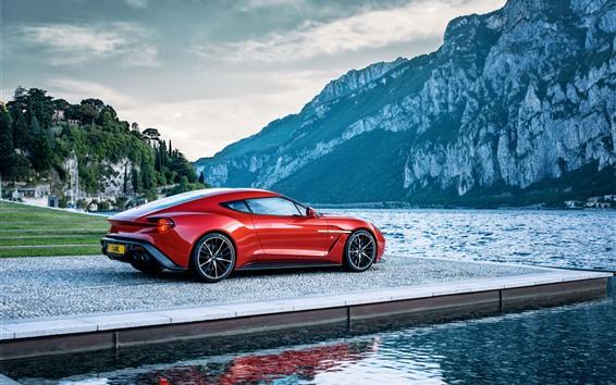 Fond d'écran Aston Martin voiture rouge vue de côté, rivière, montagnes