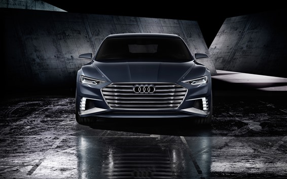 Wallpaper Audi black car front view, headlight
