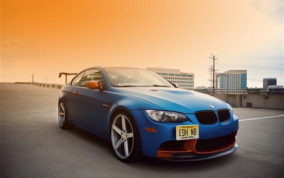 Wallpaper BMW E92 M3 blue car, city, road