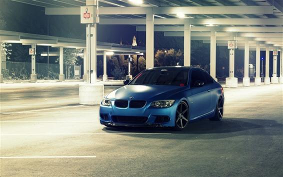 Wallpaper BMW E92 M3 blue car, night, lights
