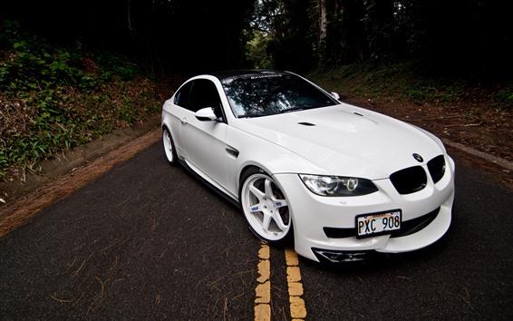 Wallpaper BMW M3 E92 white car front view, road