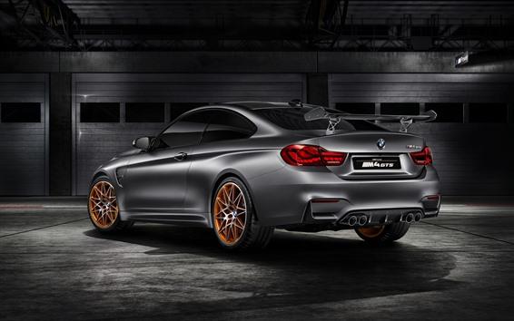 Wallpaper BMW M4 GTS silver car rear view