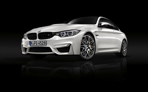 Wallpaper BMW M4 white car front view, black background